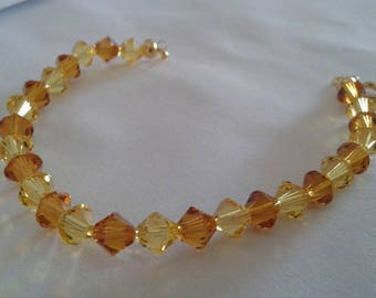 Swarovski crystal bicone bracelet transparent yellow and Brown