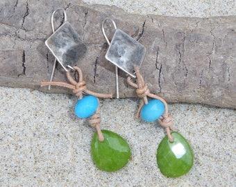 Jade stones, green and blue earrings