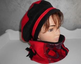 Hat beret and neck fleece