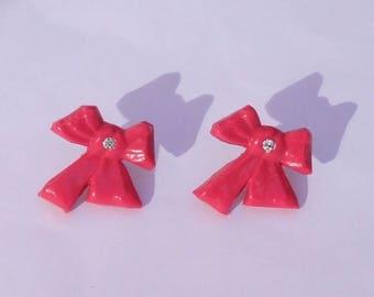 """Stud Earrings """"Fluorescent Pink Pop bow, neon"""" rhinestones."""
