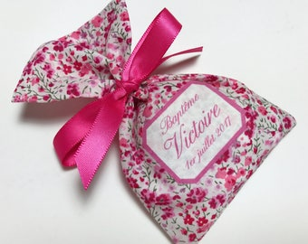 10 sachets favors personalized hot pink Liberty fabric