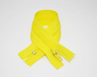Zip closure, 18 cm, yellow, not separable