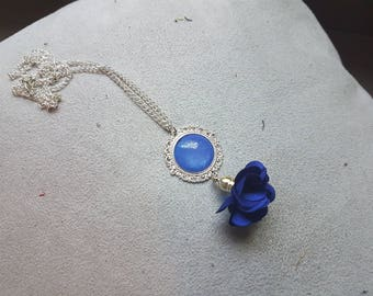 blue flower Bohemian silver necklace
