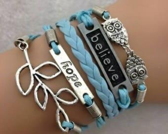 Owls, believe, hope, and lucky leaf charm bracelet