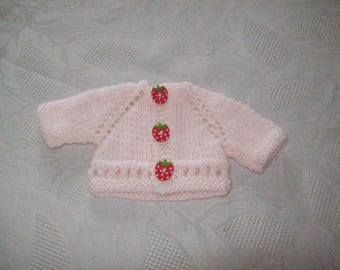 clothes for dolls of 32 33 cm, with babies: Cardigan by hand (Pink)