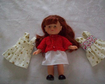 3 outfits for doll 20 cm:type corolline, dress and vest (holiday outfit) with printed cotton skirt