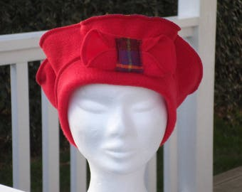 Comfortable women unique Scottish Red Winter beret Hat Cap