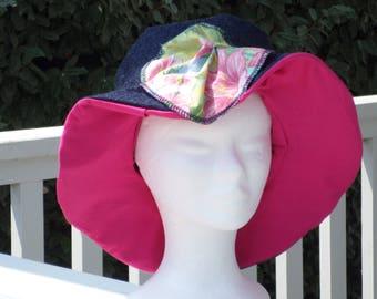 chapeau d'été femme  lin'eva confortable en coton jeans  et coton rose printemps été 2017