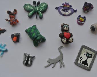 set of 14 animals polymer clay