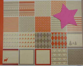 Assortment of papers, scrapbooking, jacquard, 30x30cm