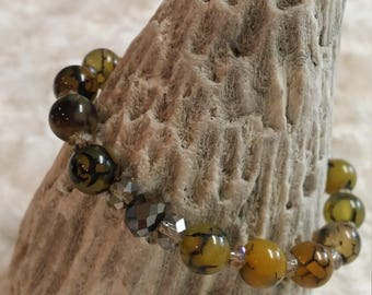 Yellow dragon veins agate and crystal beaded bracelet