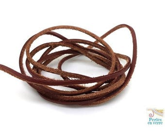 Brown square leather: 1 meter cord 2x3mm (cui149)