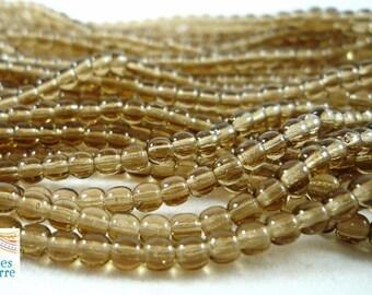 1 strand of 100 beads round Czech glass, Smoky Topaz, 3mm (ptch106)