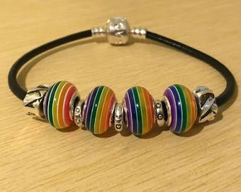 Gay Pride Rainbow Striped Leather Bracelet