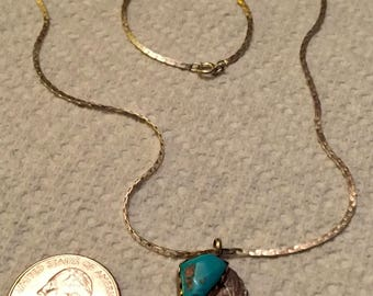 Vintage Southwestern Style Necklace -Turquoise, Red Coral and Silver