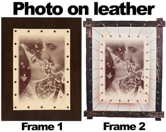 Leather photo frame wedding photography personalised photos leather photography personalised leather - Your Photo Engraved on Leather