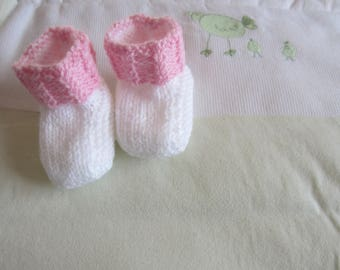 """Booties """"white and pink"""" 1 month"""