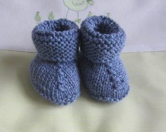 """Blue"" newborn baby hand made knit"
