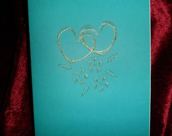 card Valentine's day embroidered silver thread