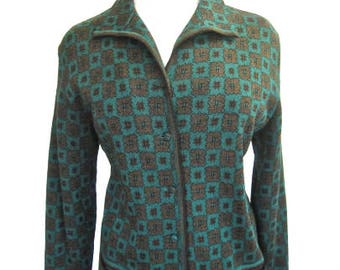 L 50s 60s Sweater Button Front Jumper Wool Knit Pockets Cardigan Green Brown Novelty Graphic Merinowolle Krawinkel 44 Large