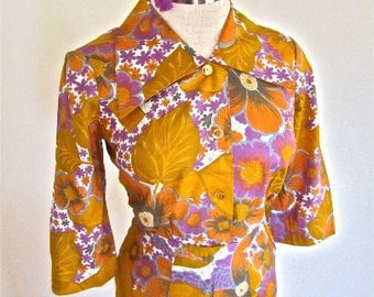 S 60s Suit Dress 2pc Floral Cotton Purple Gold Flower Buttons Shirt Skirt Outfit Blouse Top Tropical Hawaiian Small