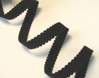 """Suede Ribbon """"lace"""", 10 mm, black, sold by the yard."""