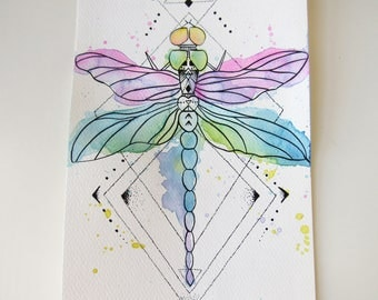 Drawing / illustration graphic dragonfly in ink and watercolor