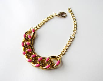 Pink enamel and gold chunky chain bracelet