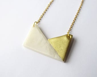 Graphic minimalist rectangle gold and white polymer clay necklace
