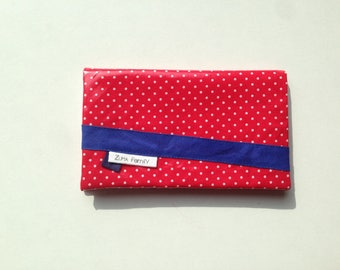 Checkbook holder in red oilcloth with white polka dots