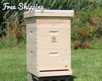 Bee Hive 8 Frame Langstroth - 2 Deep Brood & 1 Medium Super Boxes includes Frames / Foundations