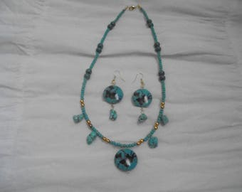 """18"""" Necklace with painted butterflies with turqoise beads and gold beaded accents and matching earrings"""