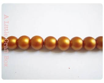 orange 10mm - 10 frosted glass beads
