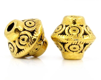 Beads spacer beads in antique gold metal