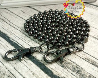 Pretty 1X120cm chain bead 6mm gunmetal with carabiners to attach bag
