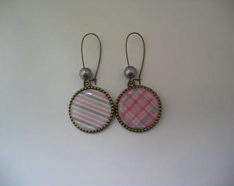 """""""Plaid and stripes"""" 25mm bronze earrings"""
