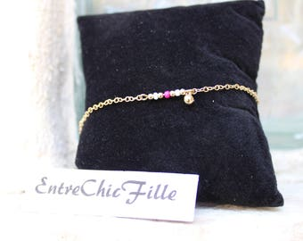 minimalist ankle bracelet gold tone beads pink and gold