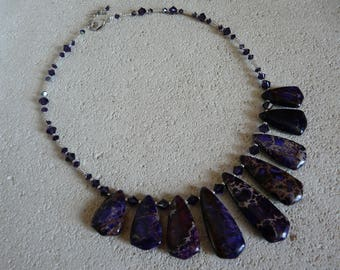 BEAUTIFUL PURPLE JASPER NECKLACE PYRITE AND SWAROVSKI CRYSTAL