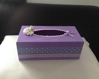Cat... Box with purple violet white handkerchiefs - sleeping cat