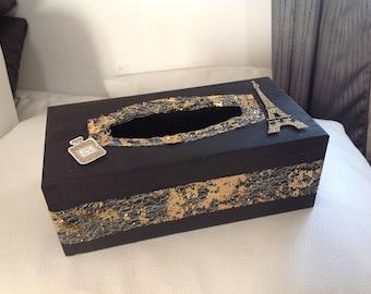 Paris... Black and gold tissue box