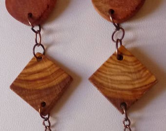 Earrings in precious woods and country: River