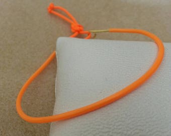 Beach bracelet adjustable brass and neon orange molded plastic
