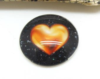 2 heart gold and black glass 14 mm - 14 mm cabochons