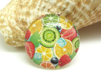 2 cabochons 12 mm glass Summer Fruits - 12 mm