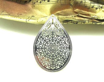 4 pendants prints filigree silver drop light - 35 * 28 mm