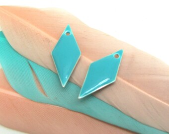 Set of 2 sequin blue green enamel Triangles - 18 * 8 mm
