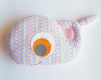 Cotton whale pillow multicolor numbers
