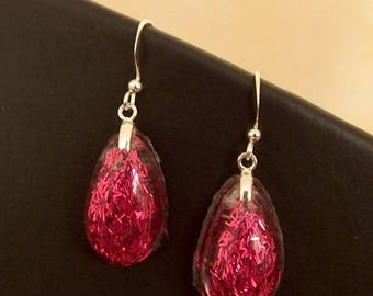 Resin drop earrings and long pink glitter