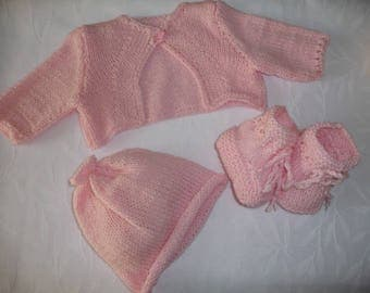gift for newborn baby handmade set Cardigan hat and booties pink