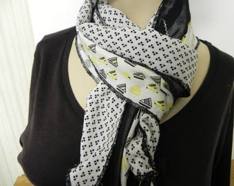 Unique white, yellow, black scarf, handmade by hands